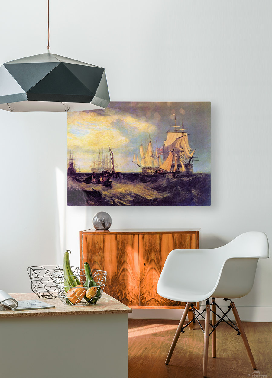 Recovering an anchor by Joseph Mallord Turner  HD Metal print with Floating Frame on Back