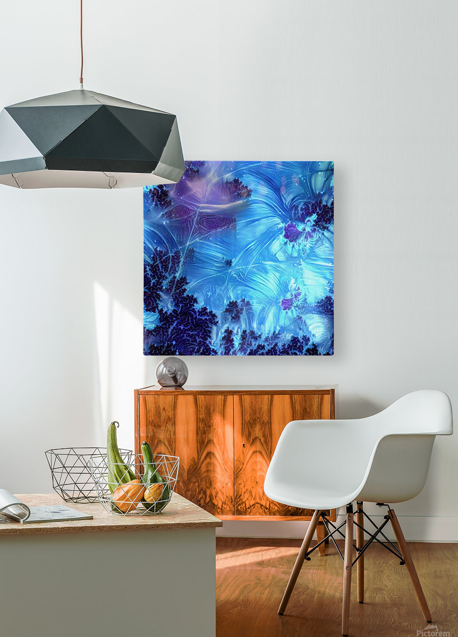 Abstract Blue Colors  HD Metal print with Floating Frame on Back