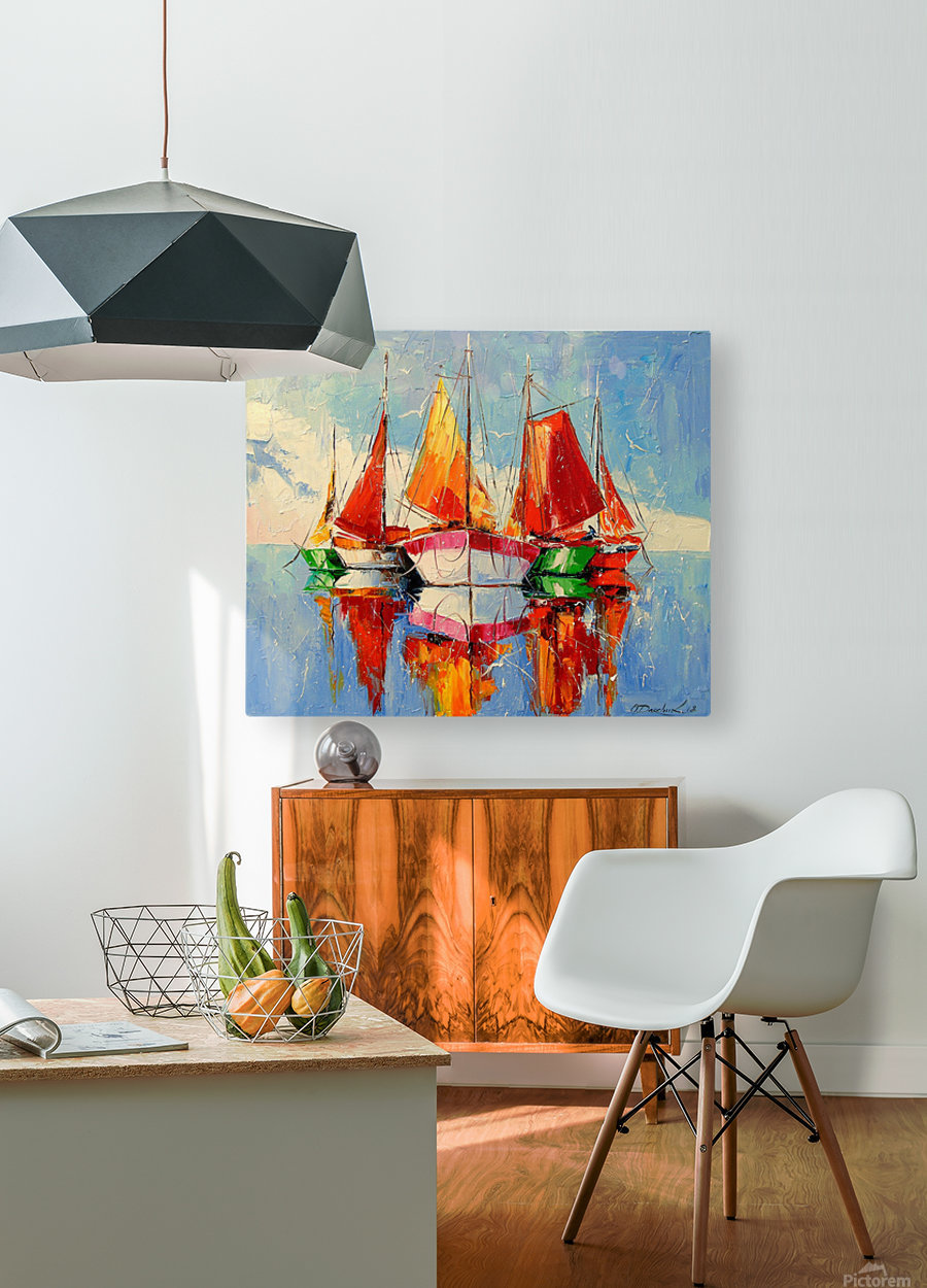 Boats in the morning  HD Metal print with Floating Frame on Back