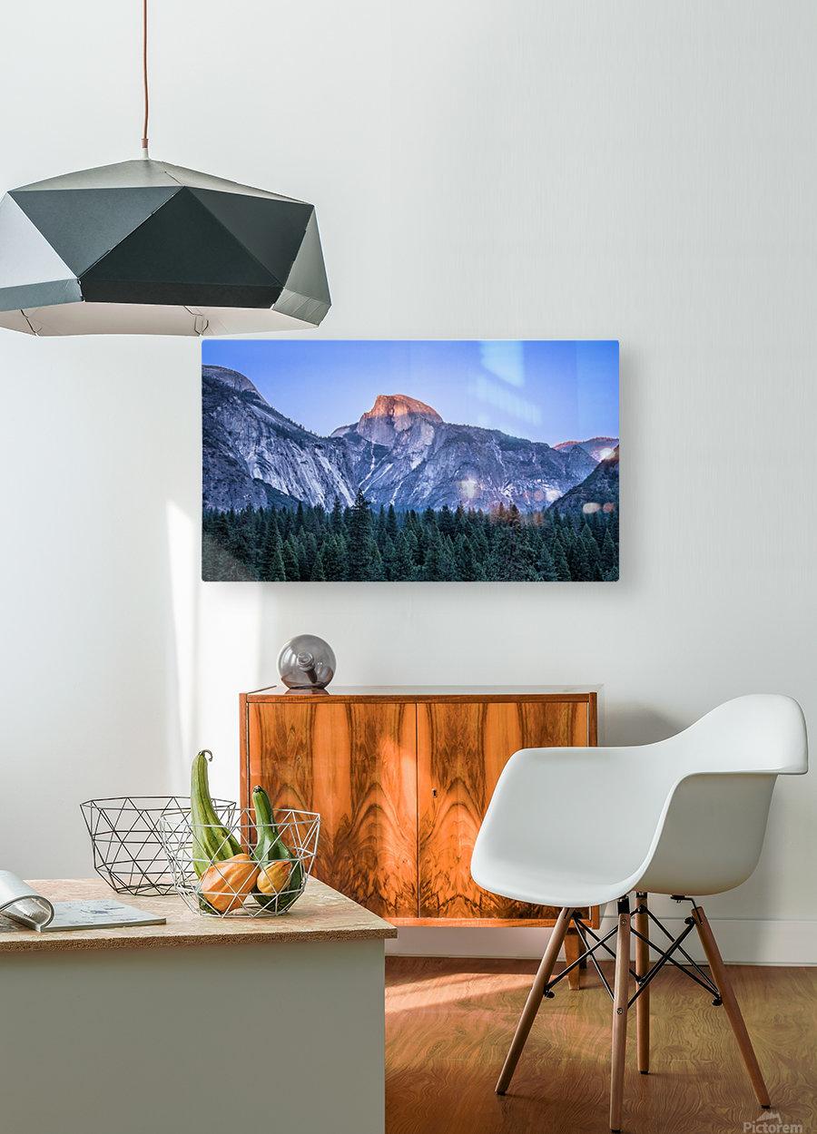 Half Dome Sunset Yosemite National Park  HD Metal print with Floating Frame on Back