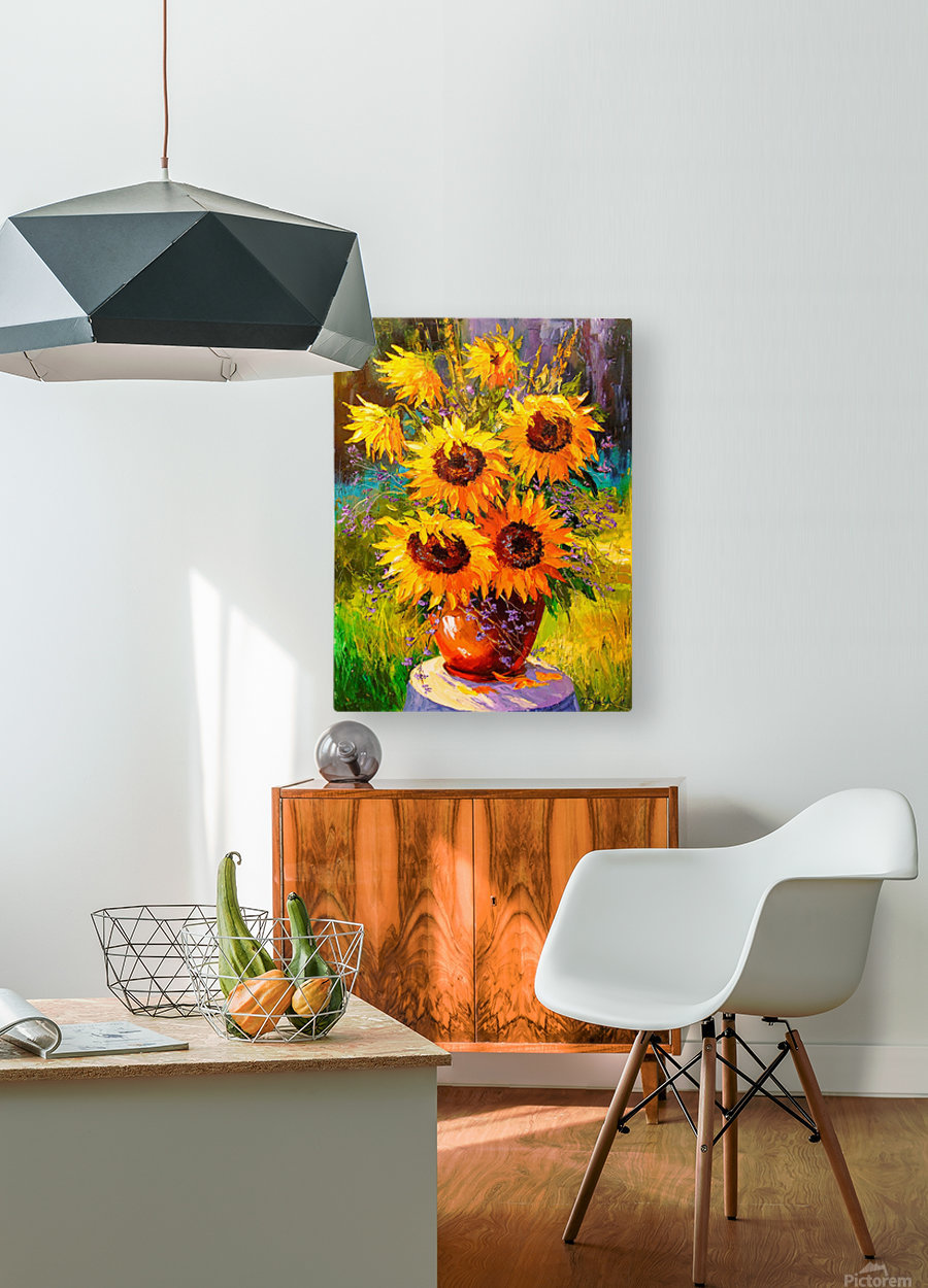A bouquet of sunflowers  HD Metal print with Floating Frame on Back