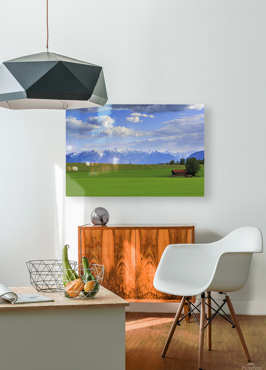 Green Fields  HD Metal print with Floating Frame on Back