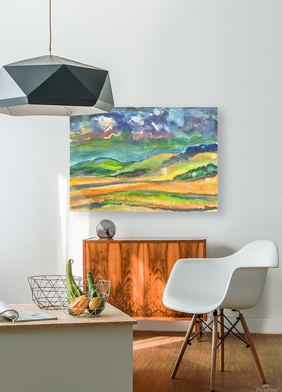 Landscape before a thunderstorm  HD Metal print with Floating Frame on Back