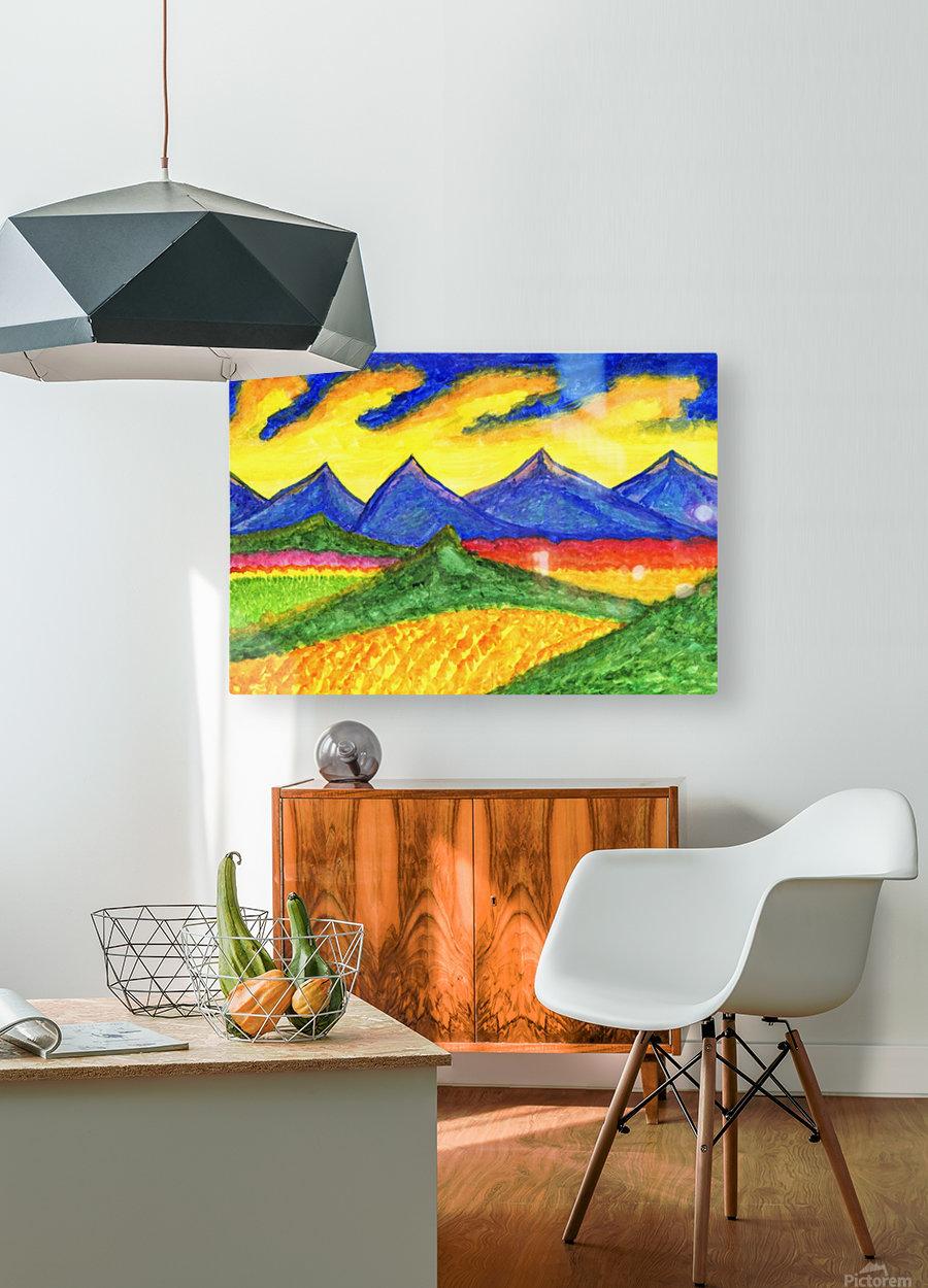 Fantastic mountain landscape  HD Metal print with Floating Frame on Back