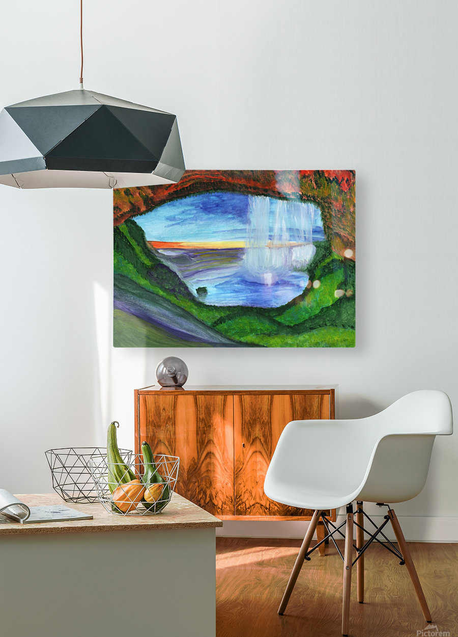 View from the cave to the waterfall  HD Metal print with Floating Frame on Back