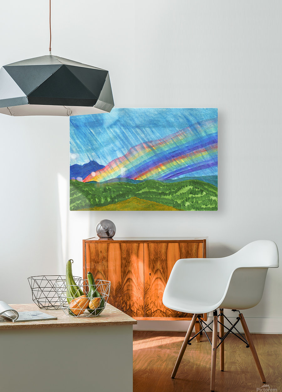 Double rainbow and rain in the mountains  HD Metal print with Floating Frame on Back