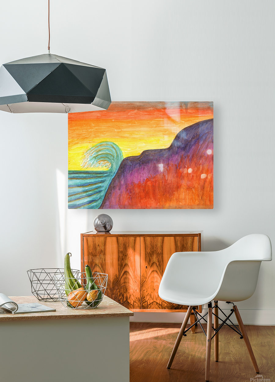 Sea surf at sunset  HD Metal print with Floating Frame on Back