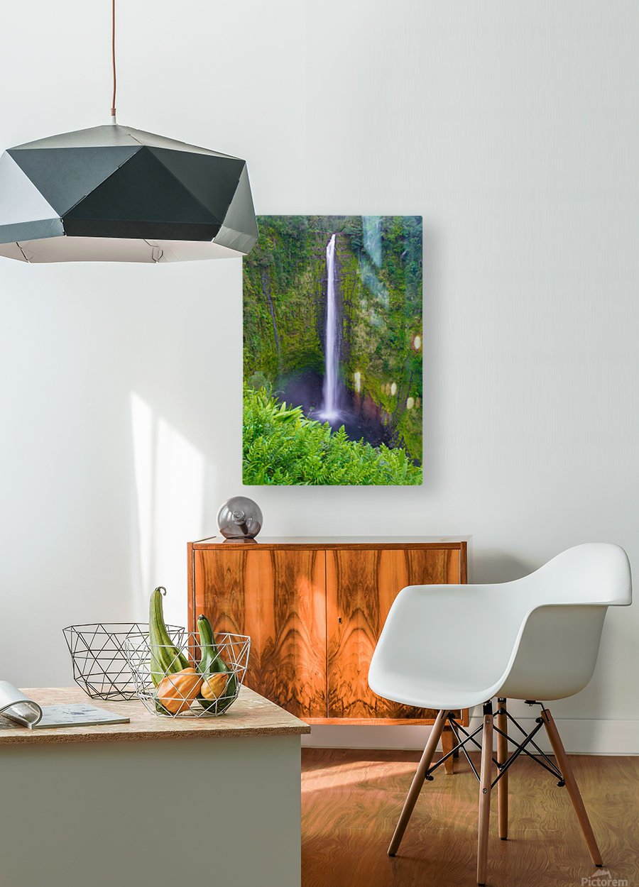 Tropical Falls - Hawaii Vertical  HD Metal print with Floating Frame on Back