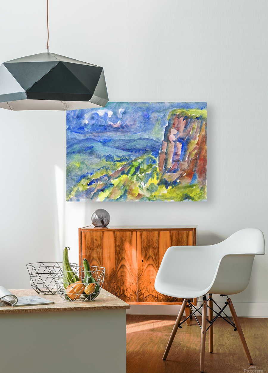 Summer landscape with cliff  HD Metal print with Floating Frame on Back