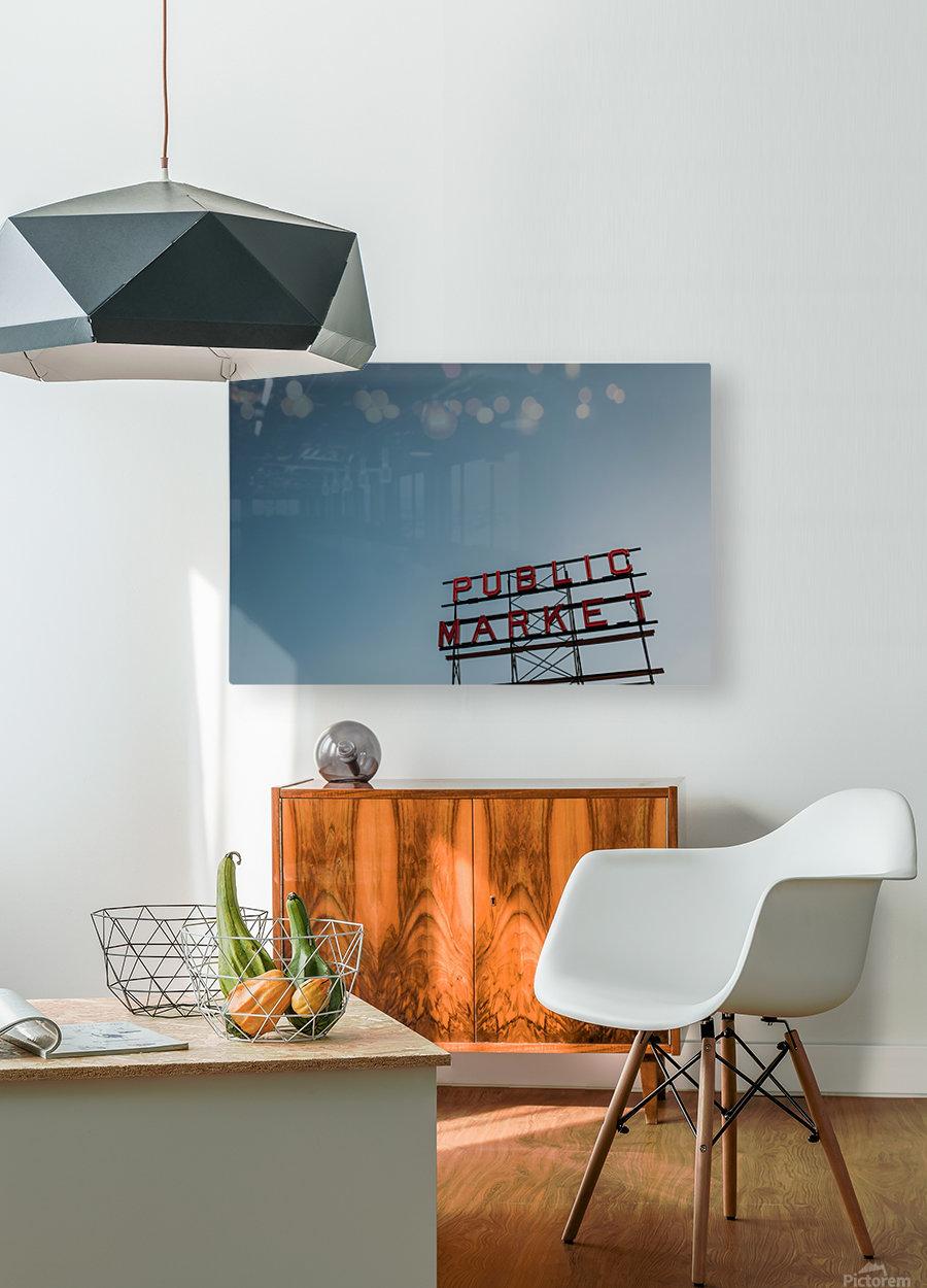 Seattle Public Market Sign  Impression métal HD avec cadre flottant sur le dos