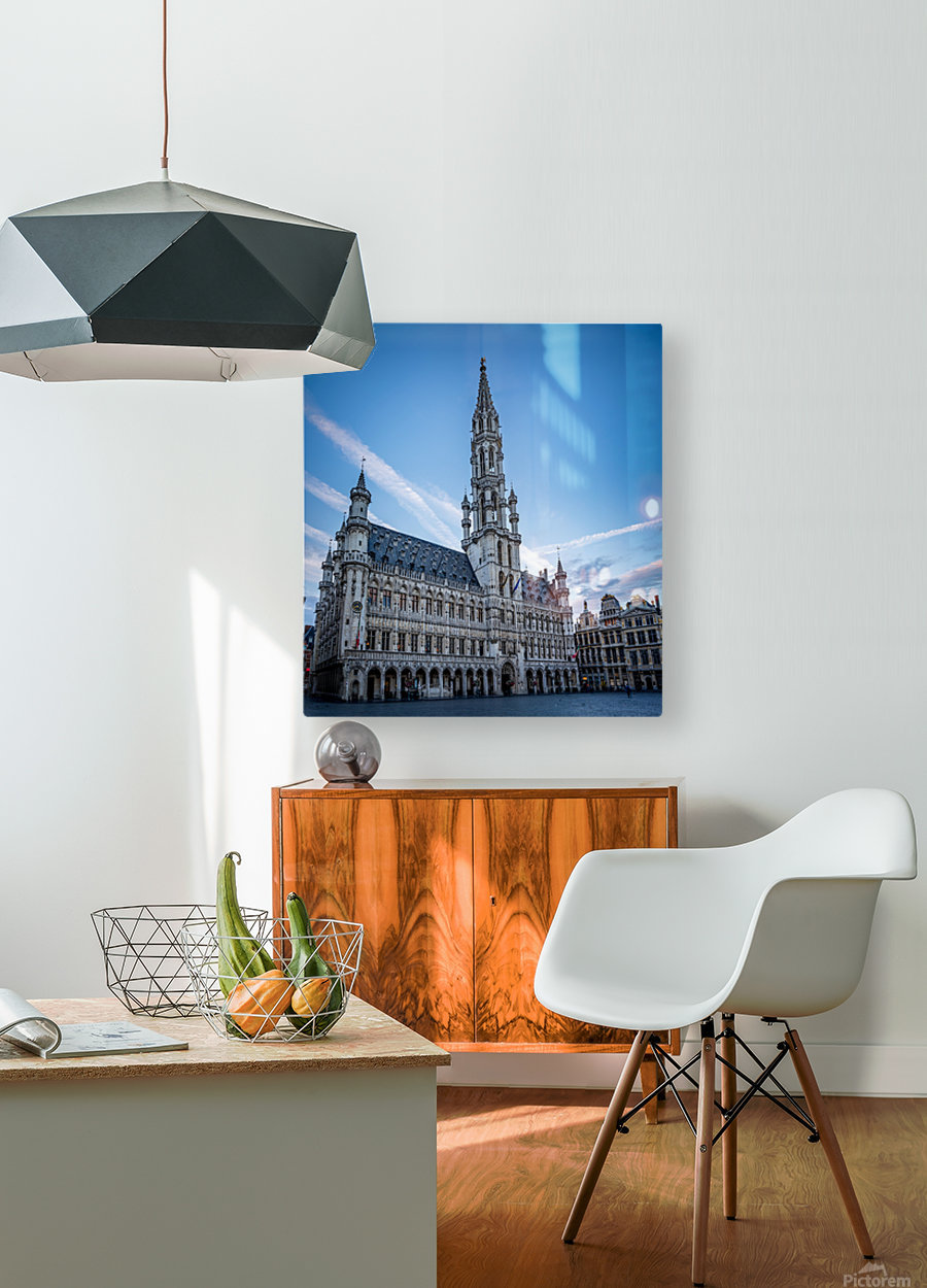 Town Hall in the Grand Place - Belgium  HD Metal print with Floating Frame on Back