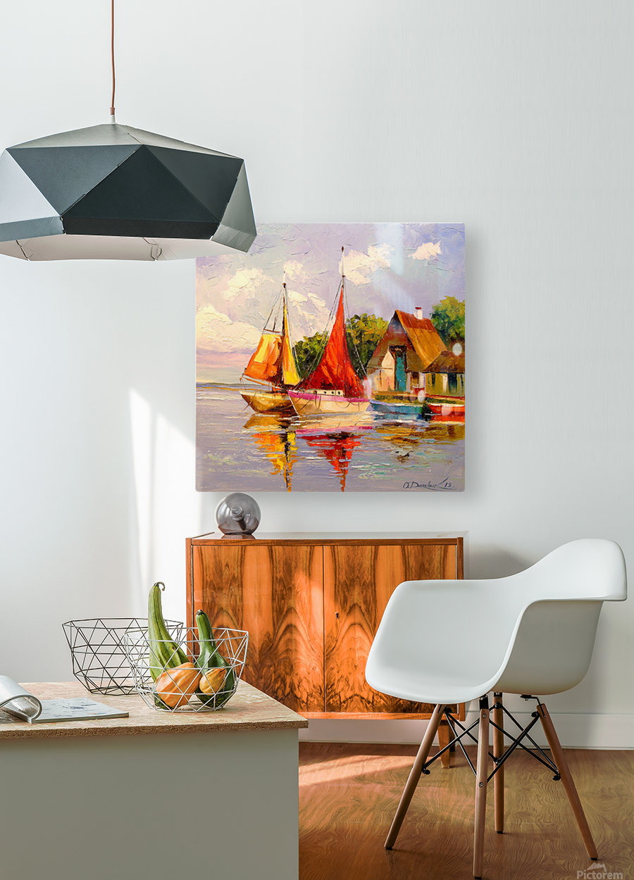 Sailboats near the shore  HD Metal print with Floating Frame on Back