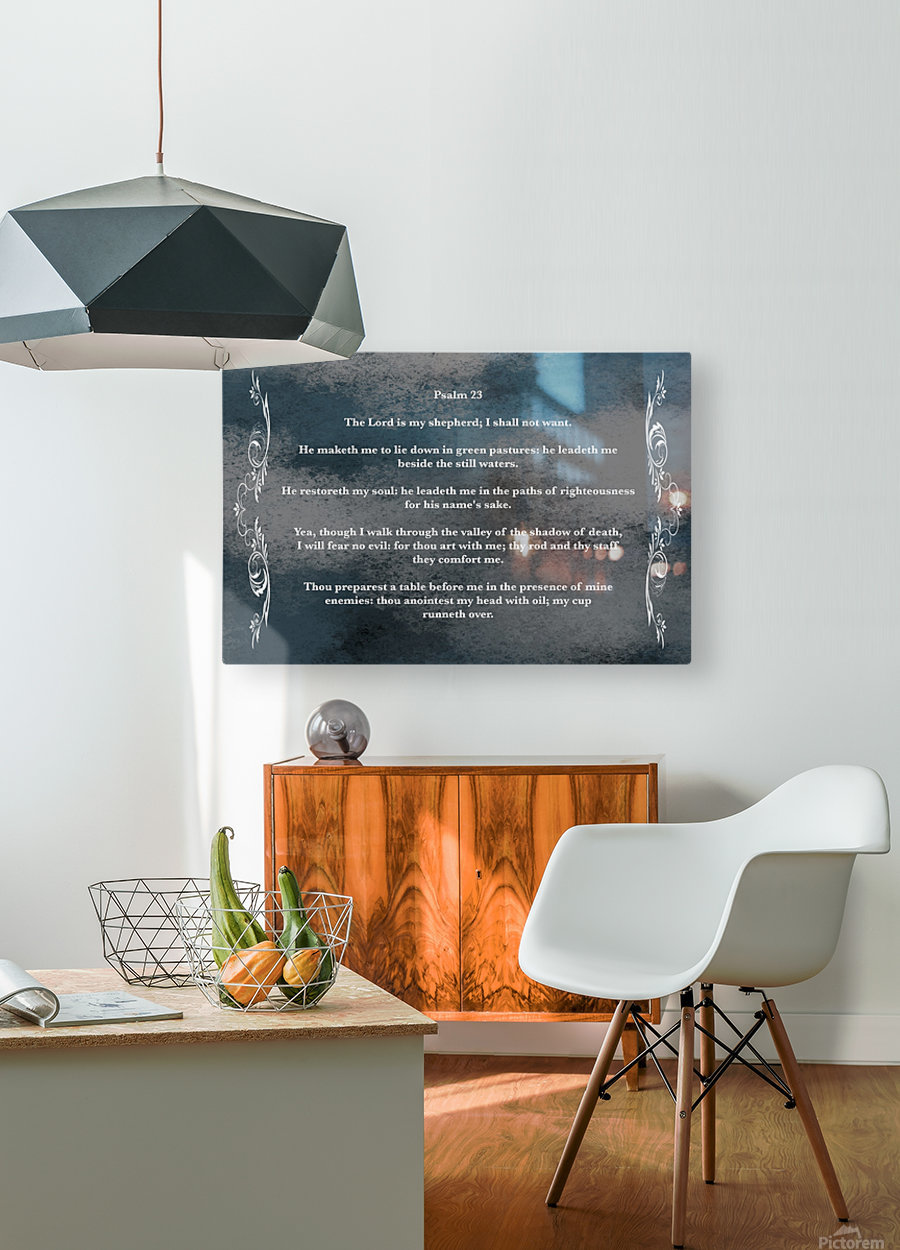 Psalm 23 4CH  HD Metal print with Floating Frame on Back