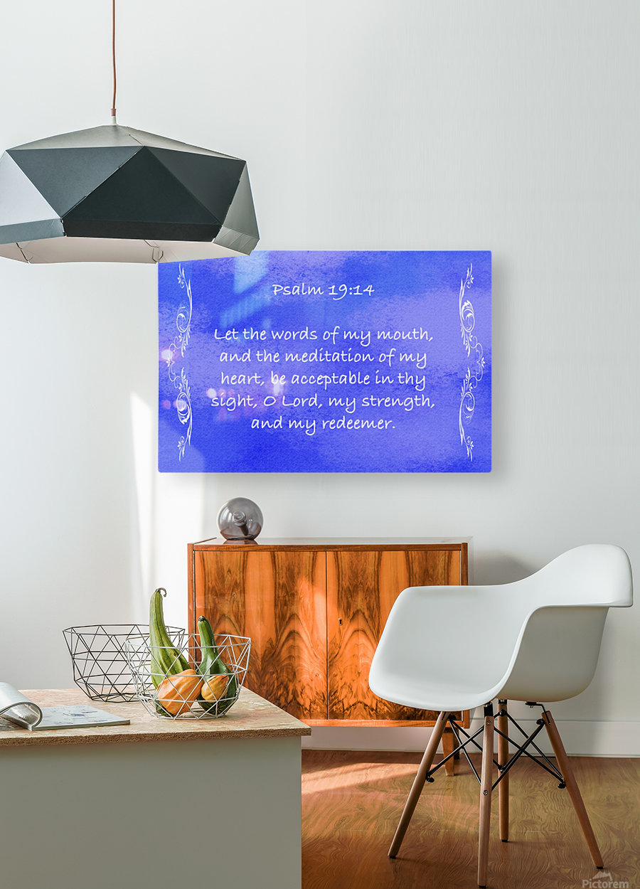 Psalm 19 14 4BL  HD Metal print with Floating Frame on Back
