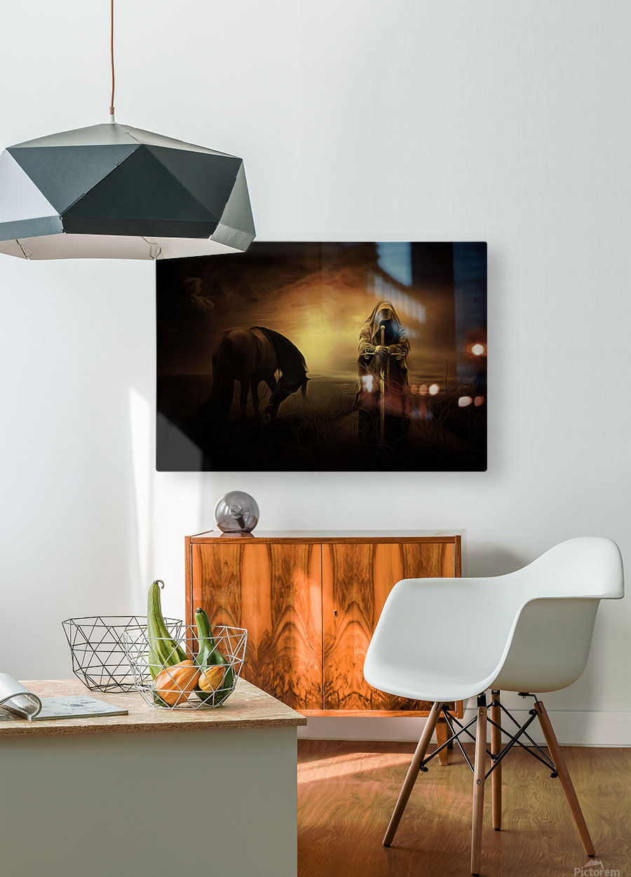knight with light  HD Metal print with Floating Frame on Back