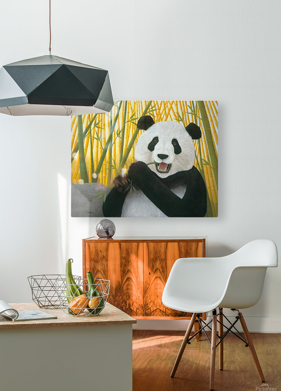 P is for Panda  HD Metal print with Floating Frame on Back
