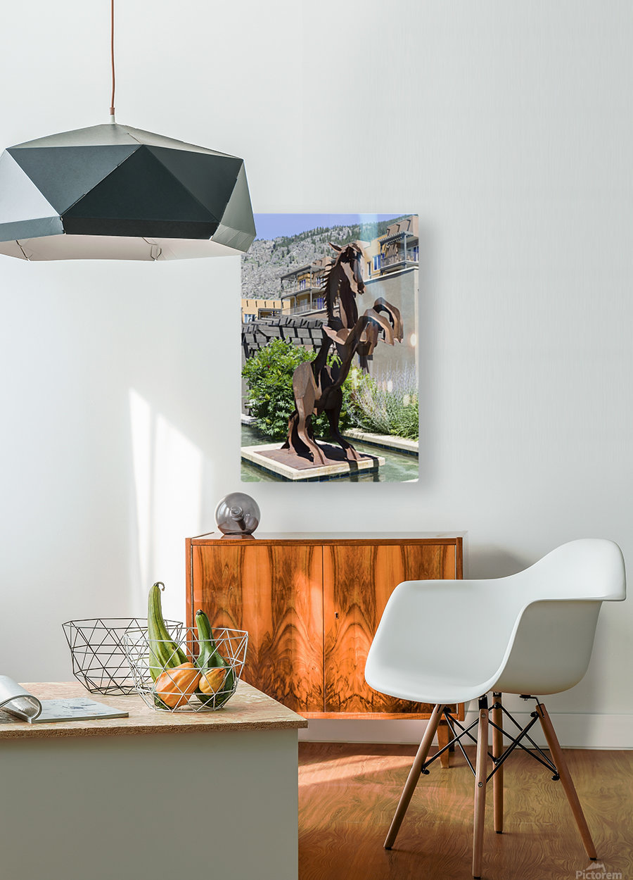 Metal Horse sculpture  HD Metal print with Floating Frame on Back