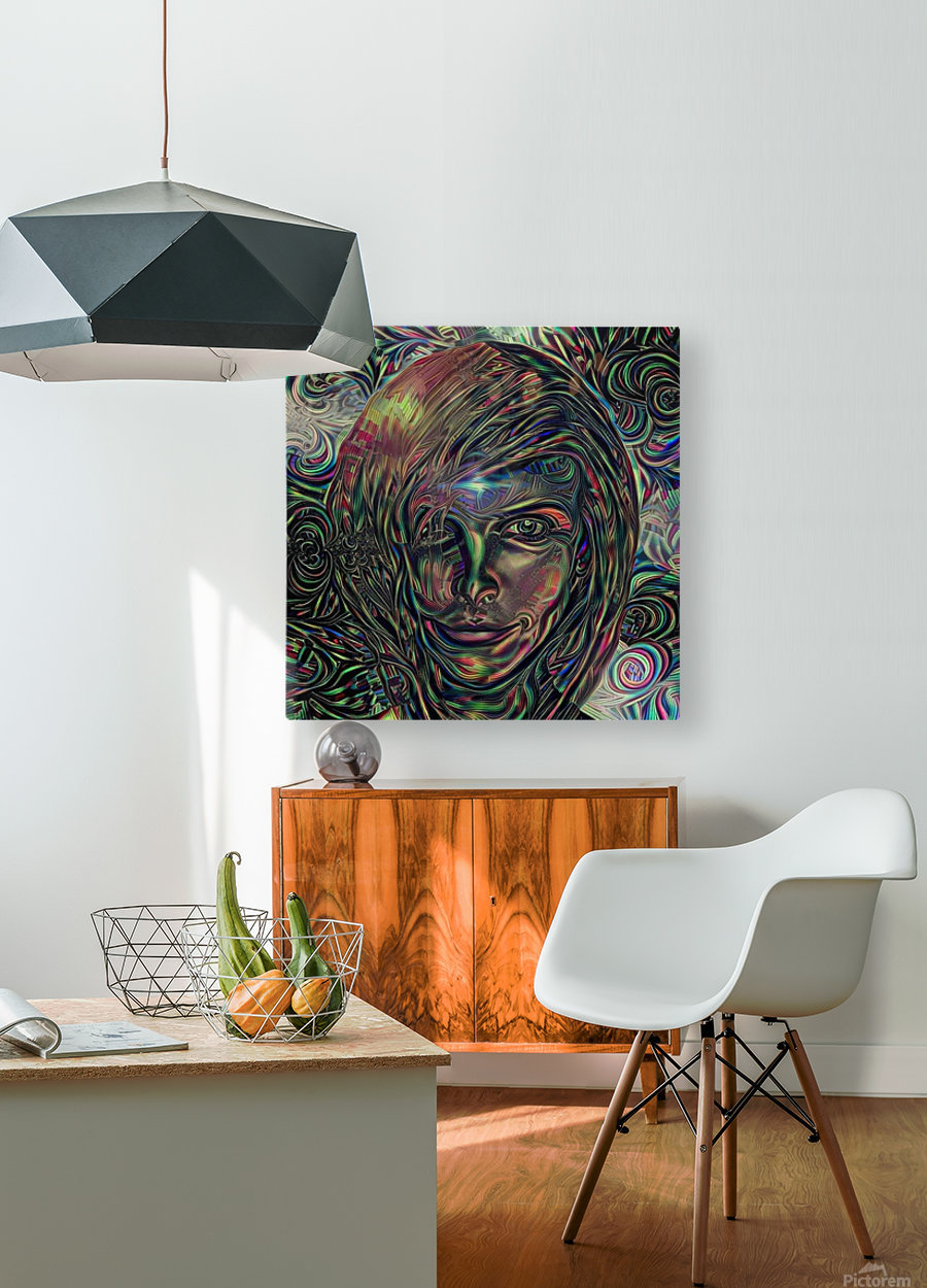 Womans Face  HD Metal print with Floating Frame on Back
