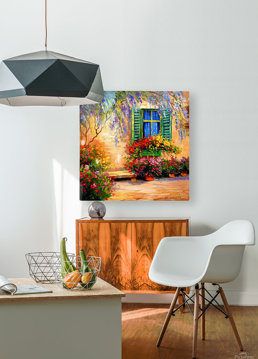 Blooming summer patio  HD Metal print with Floating Frame on Back