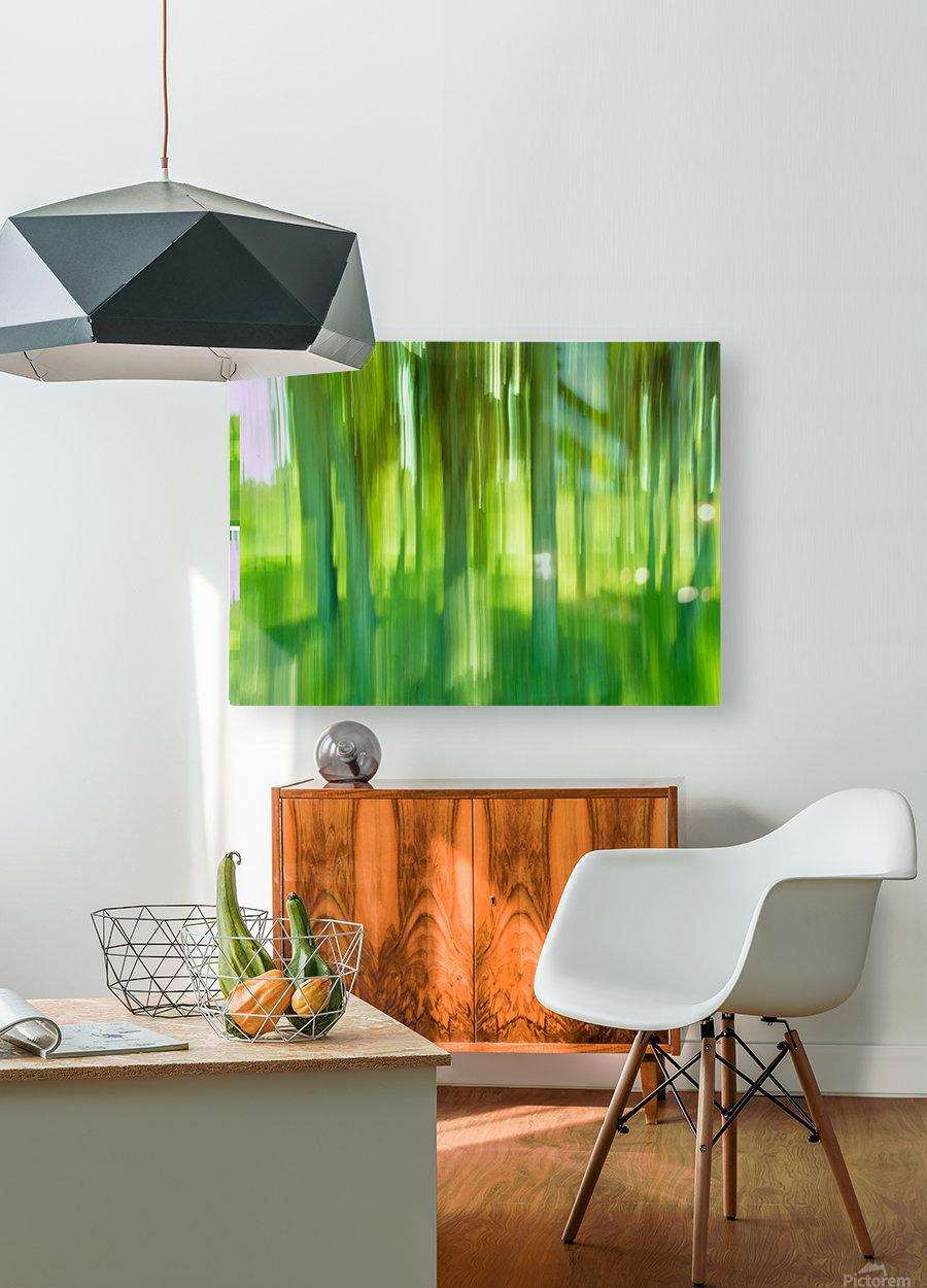 Moving Trees 12 Green Landscape 52-70 360px  Impression métal HD avec cadre flottant sur le dos
