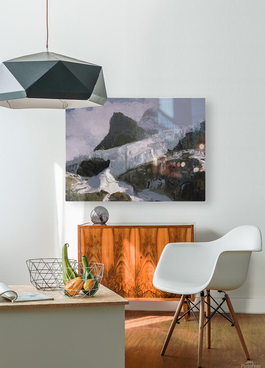 Athabaska Glacier Digital Painting 52 70 200px  HD Metal print with Floating Frame on Back