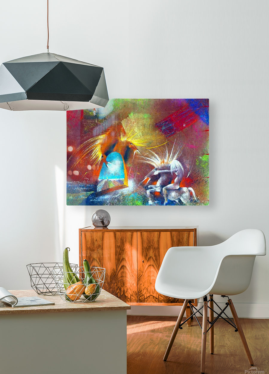 Fight of Dragon Horses  HD Metal print with Floating Frame on Back