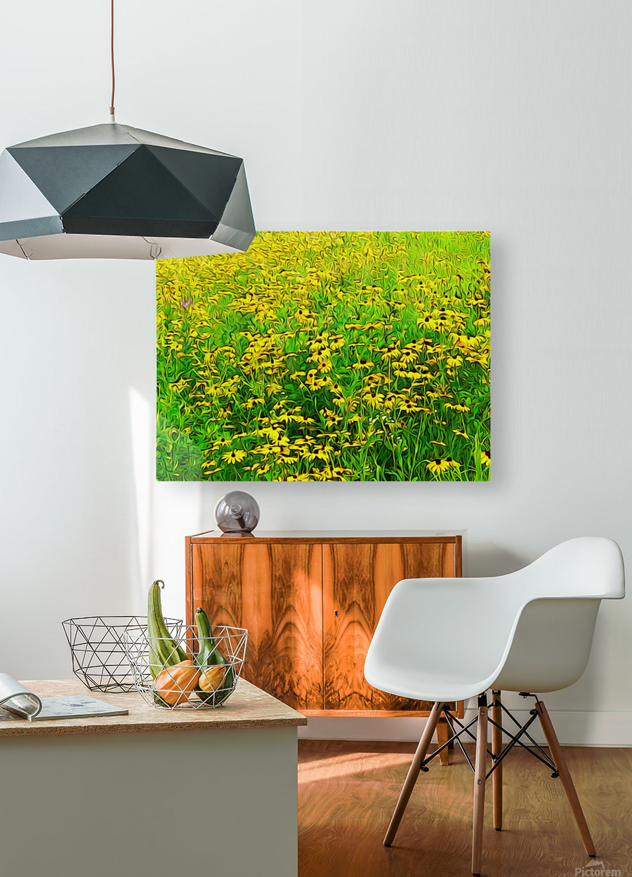 Field Of Flowers  HD Metal print with Floating Frame on Back