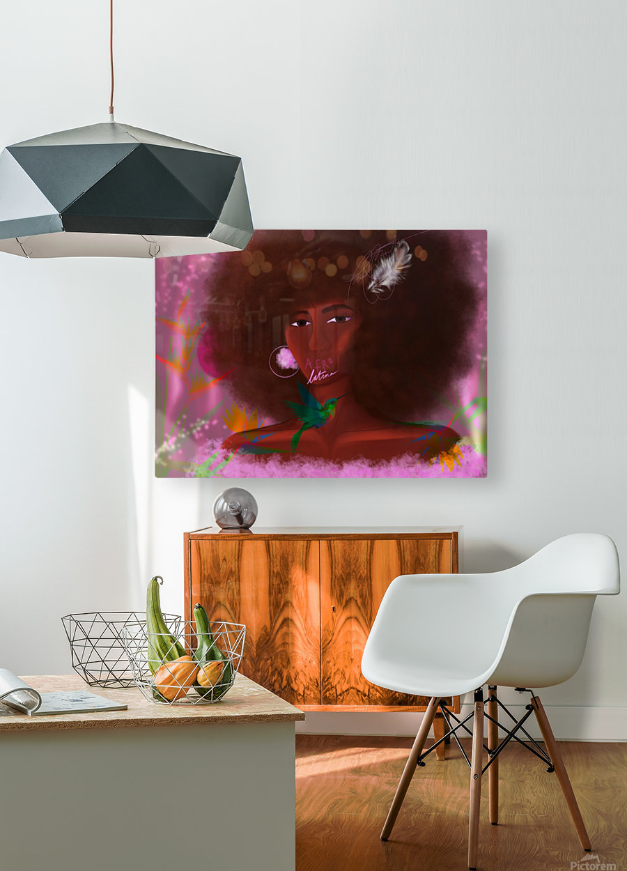 Afro Latina  HD Metal print with Floating Frame on Back