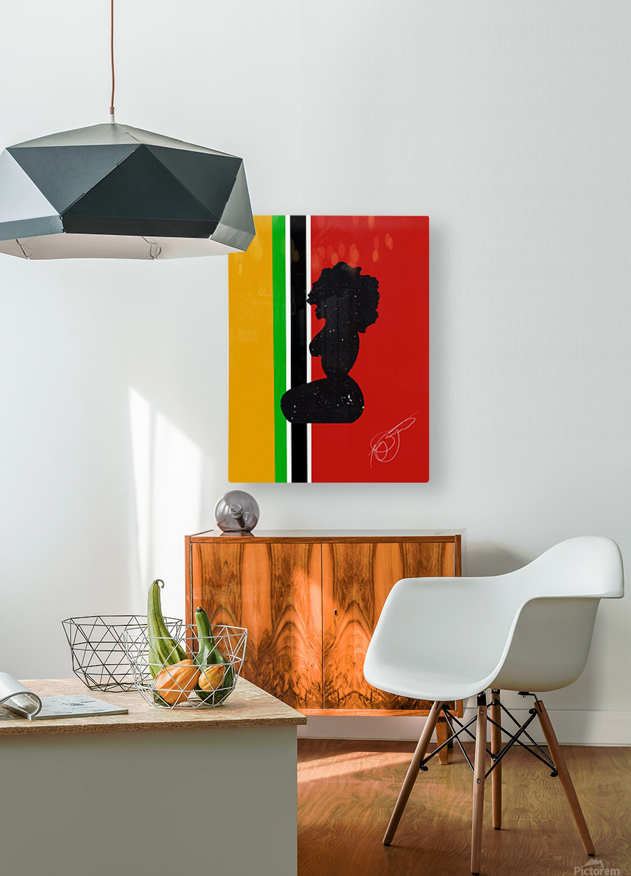 Afrocentric Woman Silhouette- African Flag  HD Metal print with Floating Frame on Back