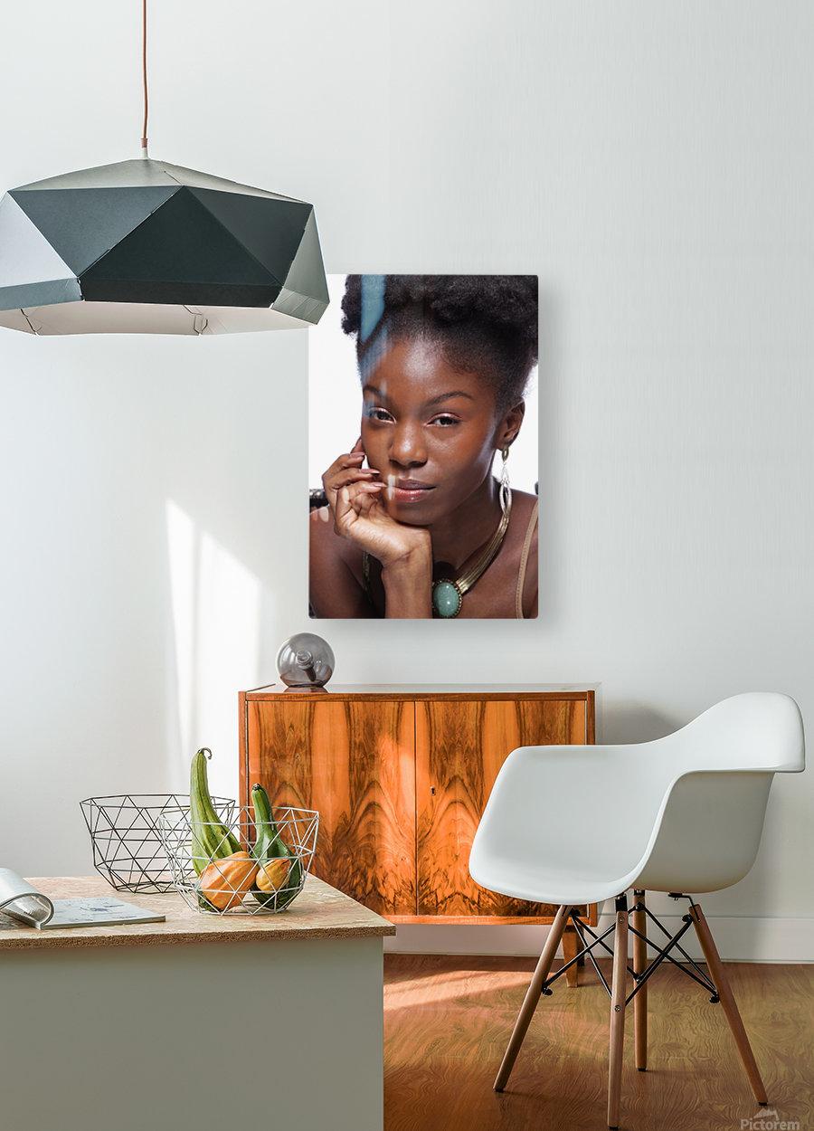 Black Woman Headshot  HD Metal print with Floating Frame on Back