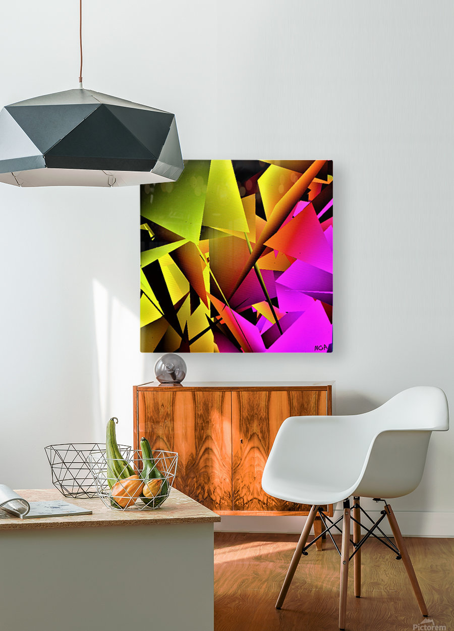 yellow and Pink - by Neil Gairn Adams  HD Metal print with Floating Frame on Back