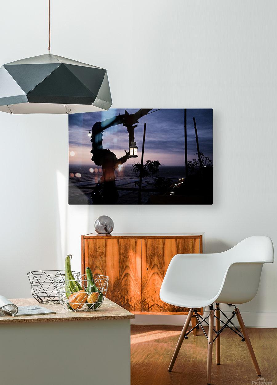 Lanterne de Lima  Impression métal HD avec cadre flottant sur le dos