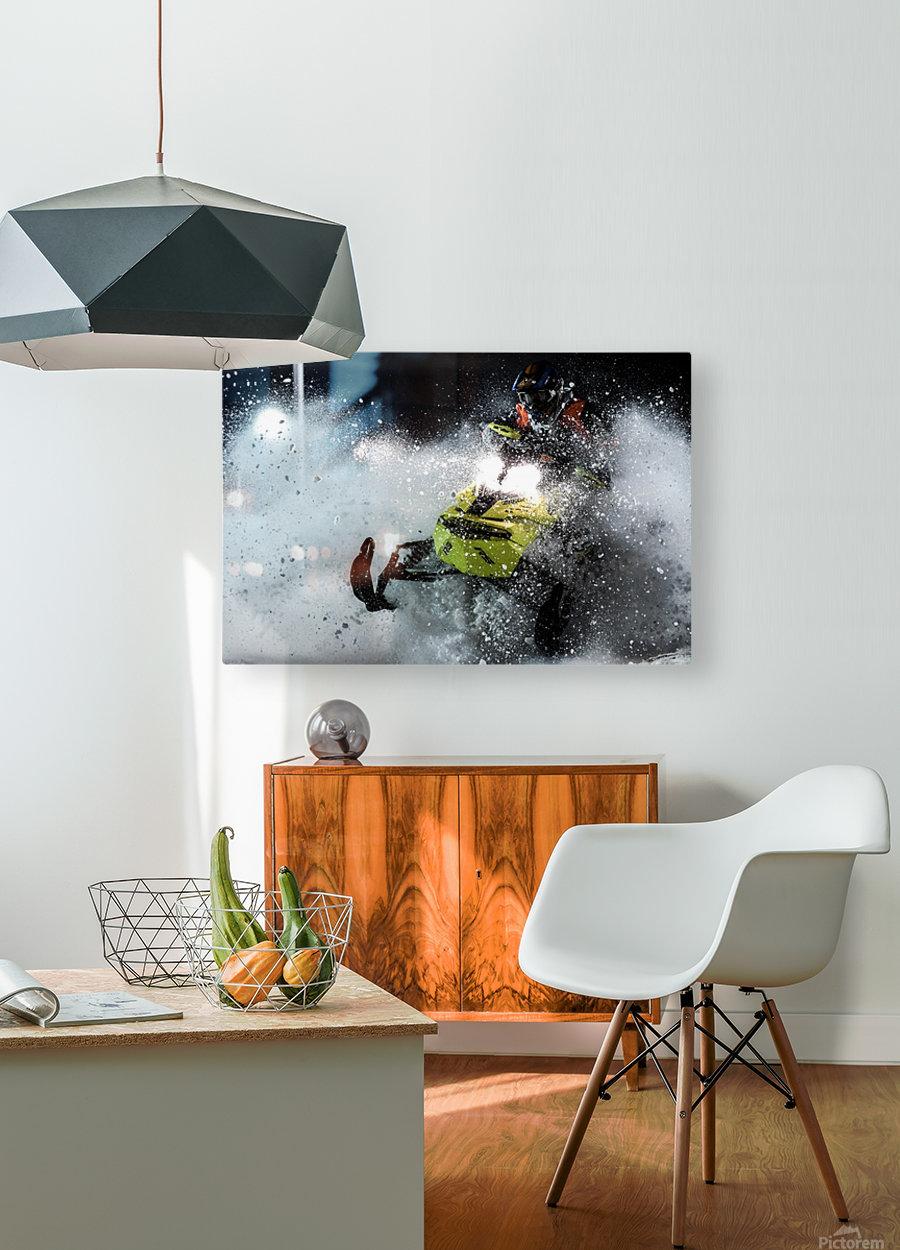 Chez nous c'est Ski-doo   Impression métal HD avec cadre flottant sur le dos