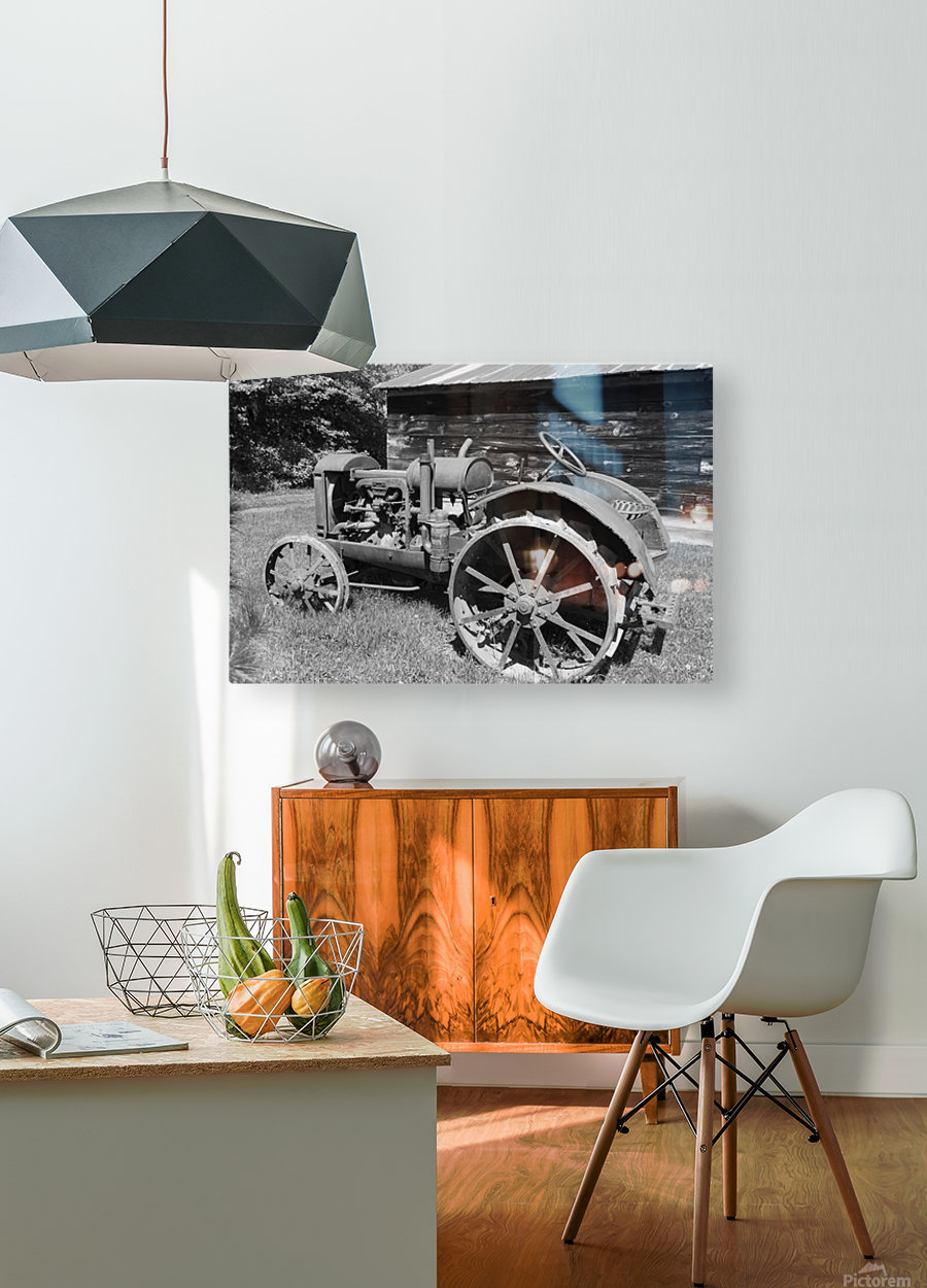 McCormick-Deering gasoline tractor 2 B&W  HD Metal print with Floating Frame on Back