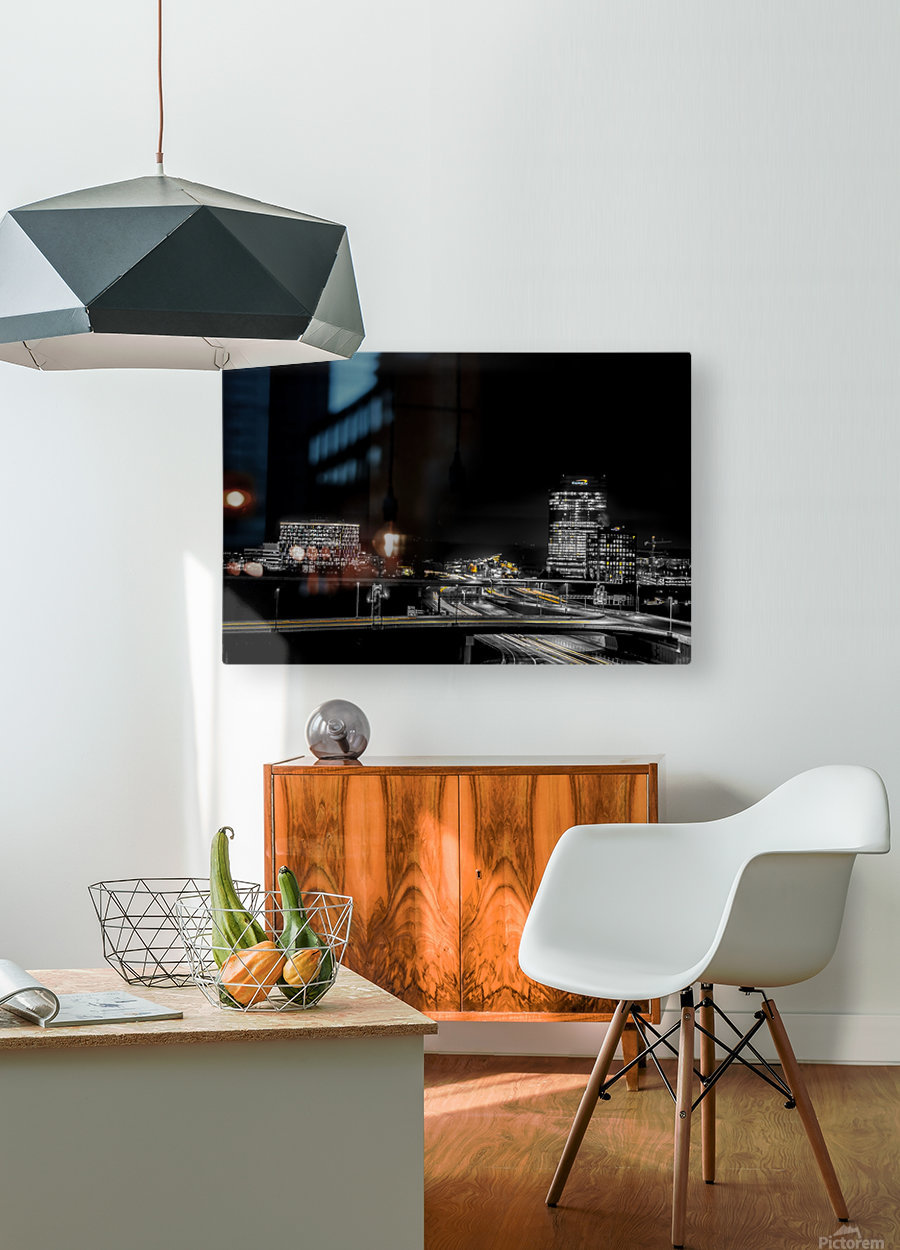 Hot lights on a Cold Night   HD Metal print with Floating Frame on Back