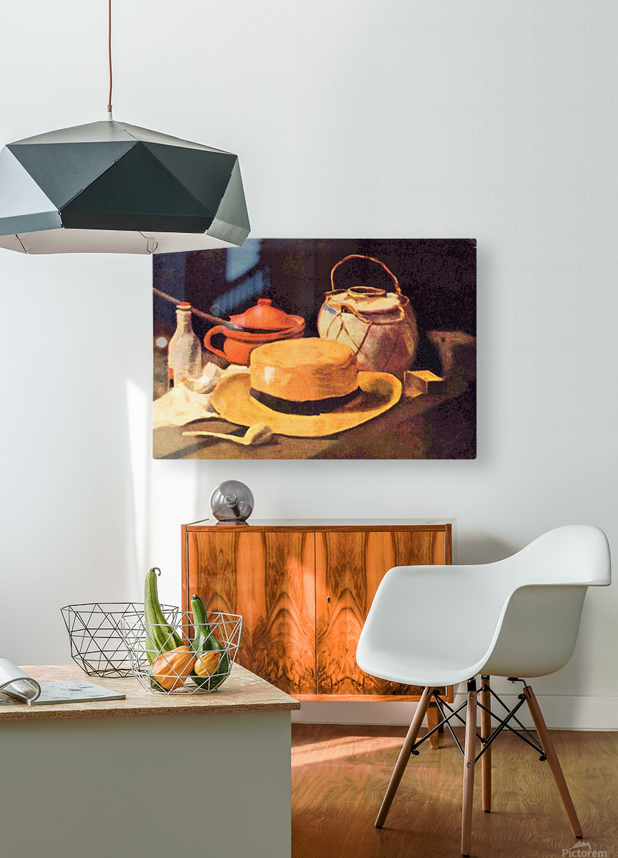 Still Life with Pipe and Straw Hat by Van Gogh  HD Metal print with Floating Frame on Back