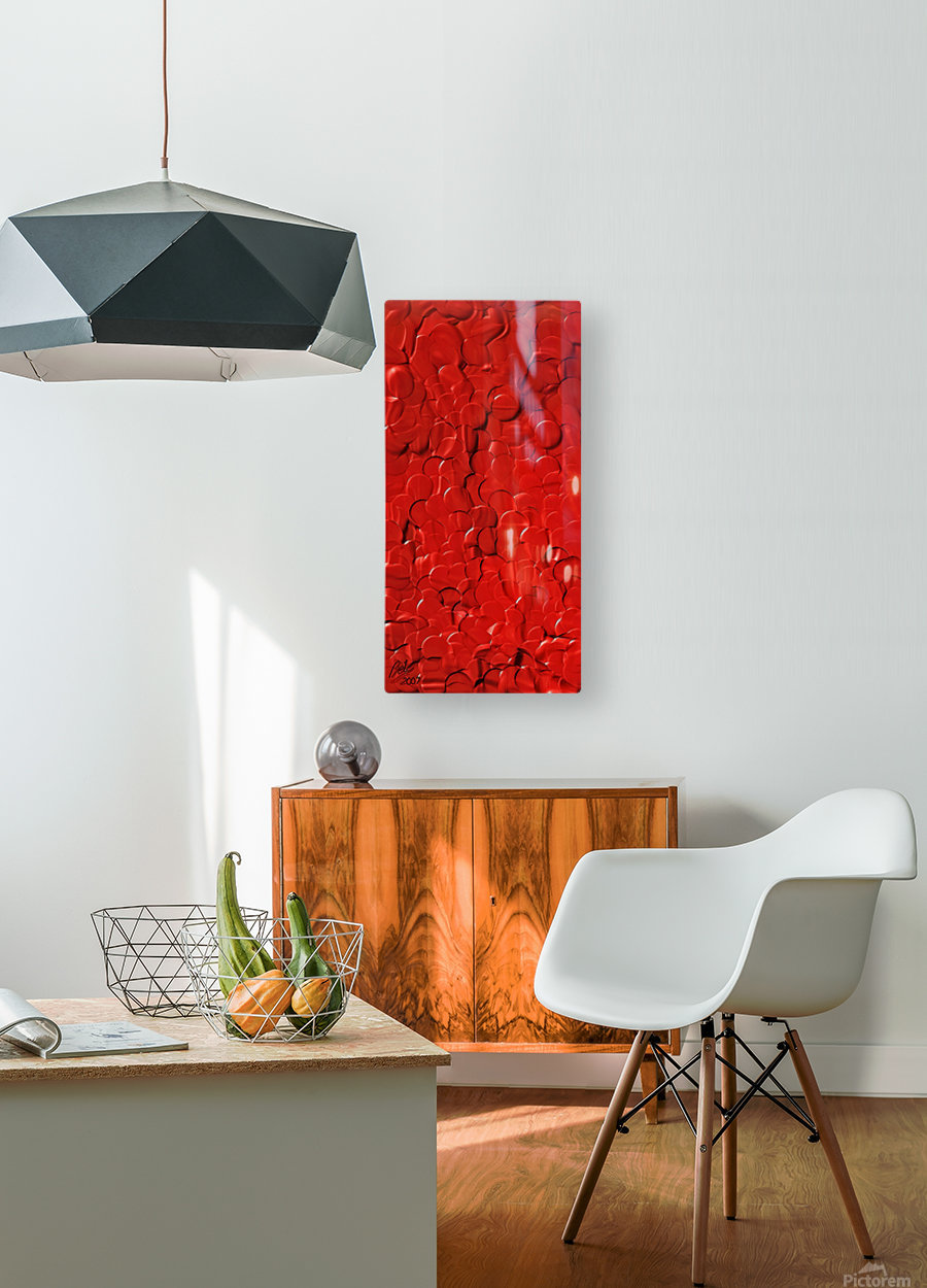 Red cells  HD Metal print with Floating Frame on Back