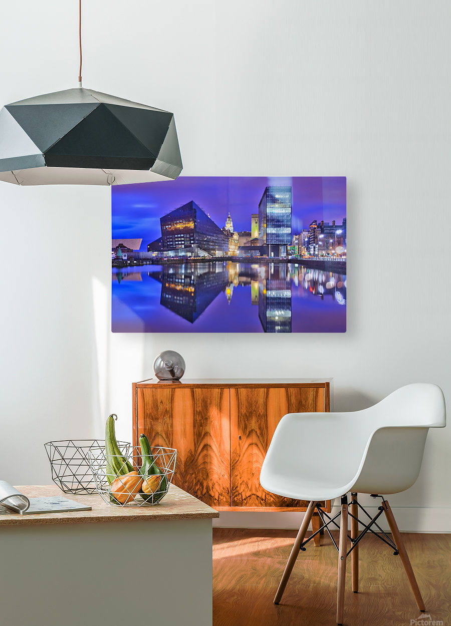 LIV 004 Dock Reflections  HD Metal print with Floating Frame on Back