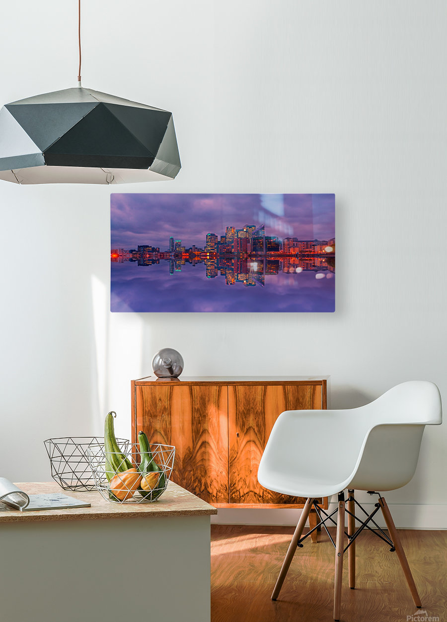 LON 009 Canary Wharf Reflection   HD Metal print with Floating Frame on Back