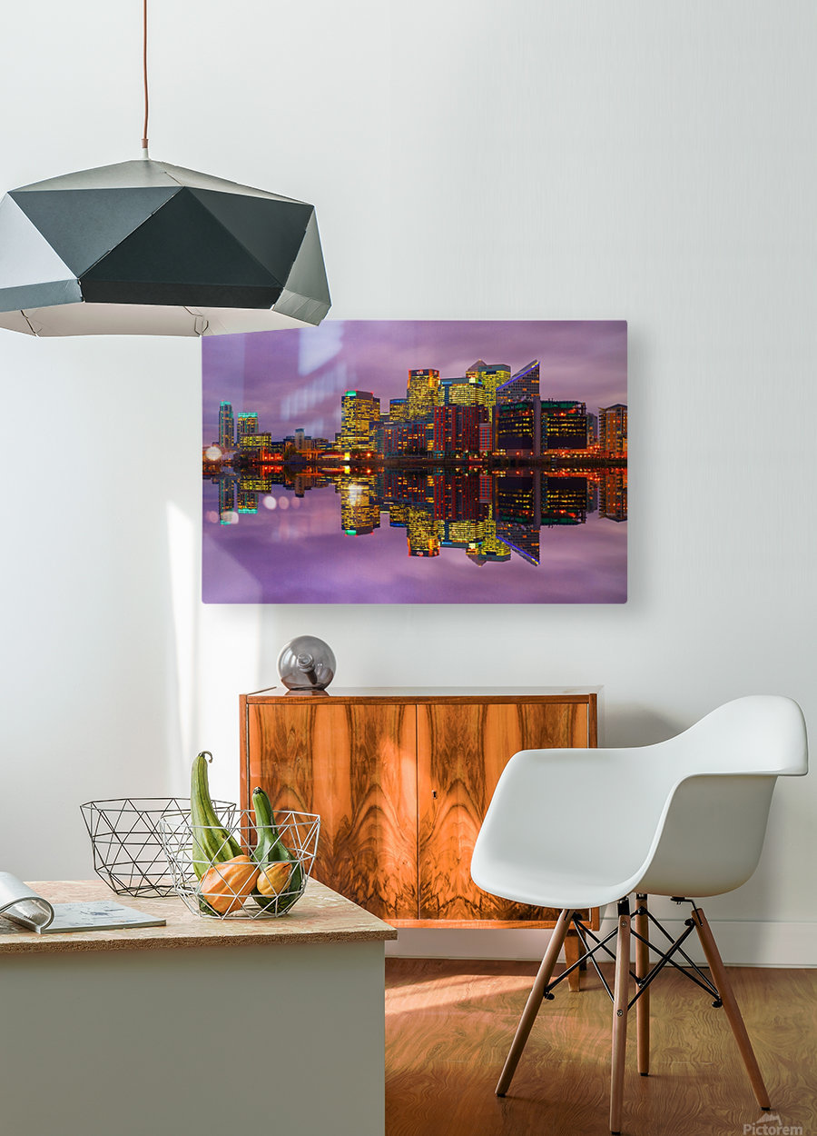 LON 008 Canary Wharf Reflection   HD Metal print with Floating Frame on Back