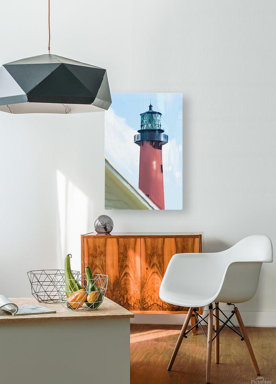 Jupiter Inlet Lighthouse Digital Painting Portrait 52 70 200px  HD Metal print with Floating Frame on Back