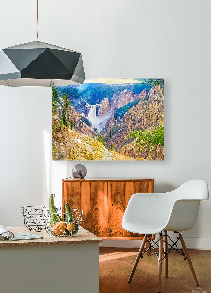 Yellowstone Falls Digital Painting Landscape 52 70 200px  HD Metal print with Floating Frame on Back