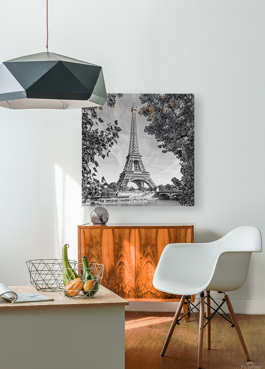 PARIS Eiffel Tower & River Seine   Monochrome  HD Metal print with Floating Frame on Back