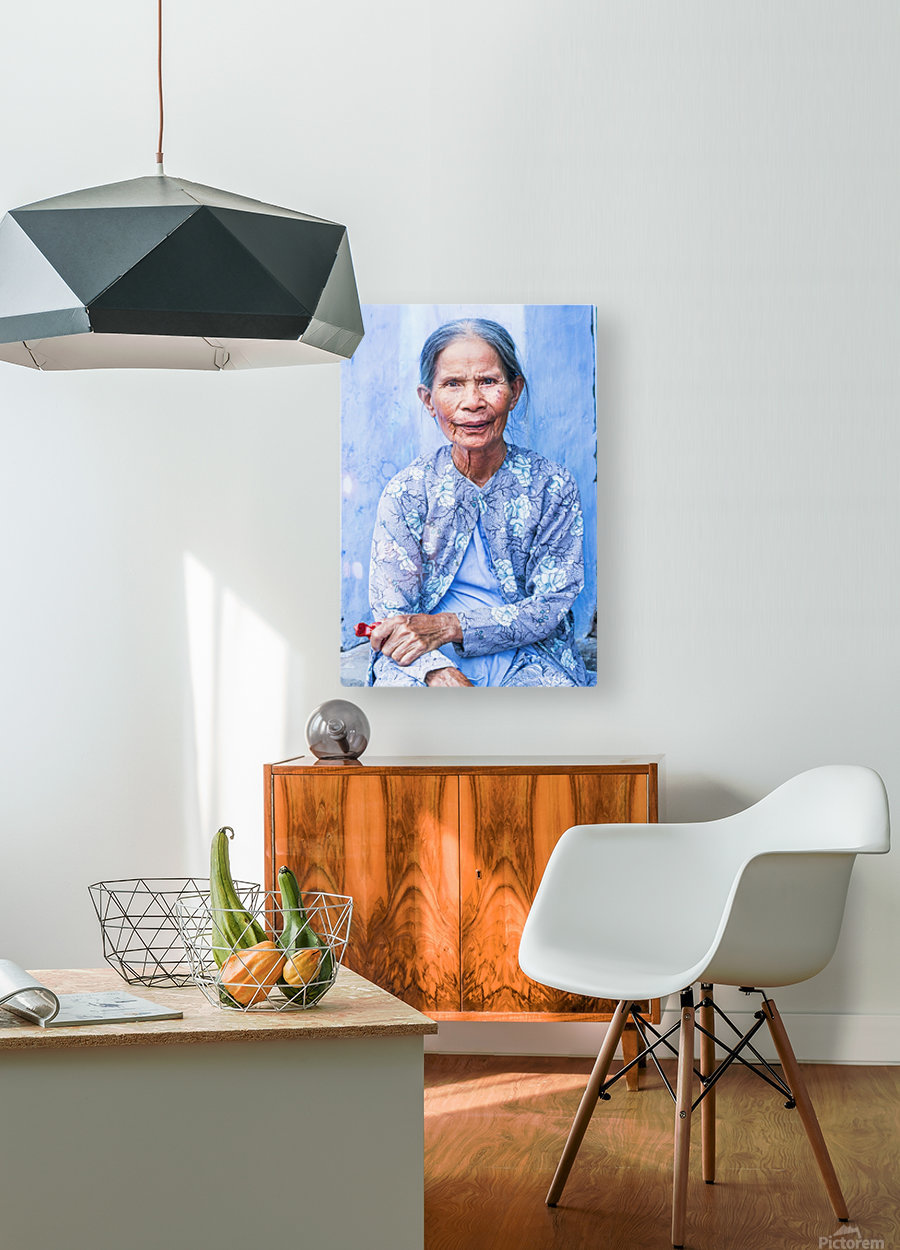 THE BLUE LADY OF HOI AN  HD Metal print with Floating Frame on Back