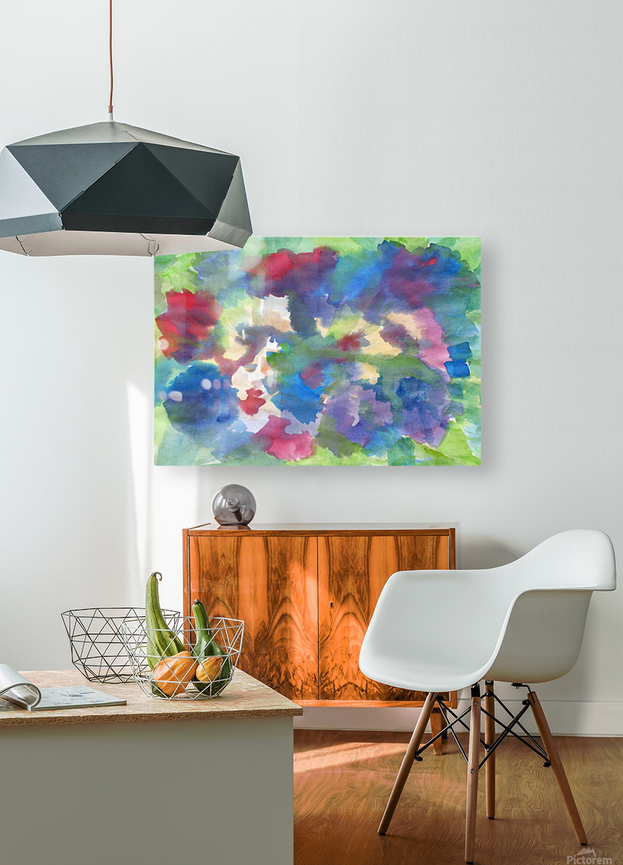 Watercolor abstraction with a blurred floral pattern  HD Metal print with Floating Frame on Back