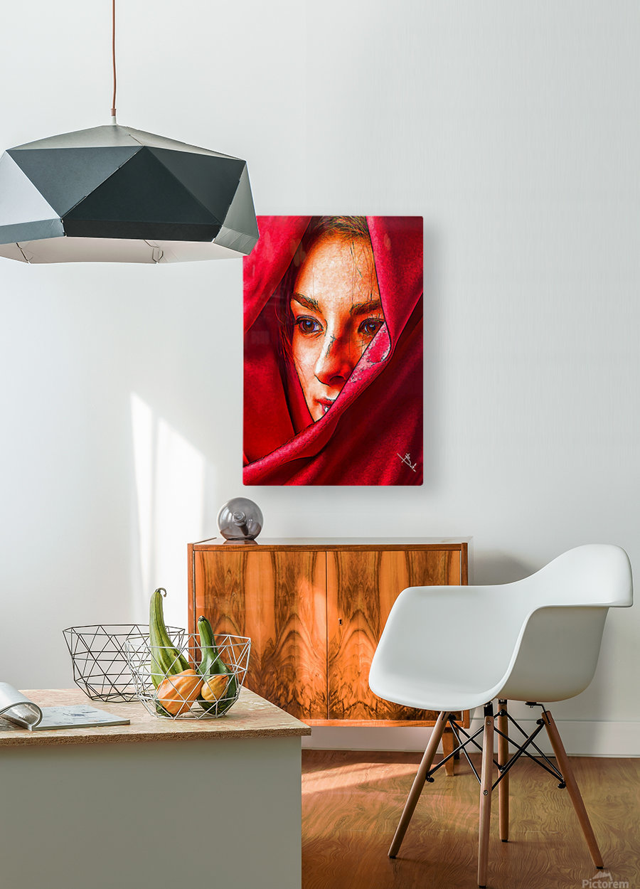 Bianca in red  HD Metal print with Floating Frame on Back