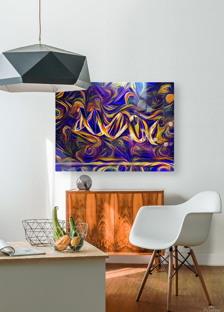 Abstract DNA  HD Metal print with Floating Frame on Back