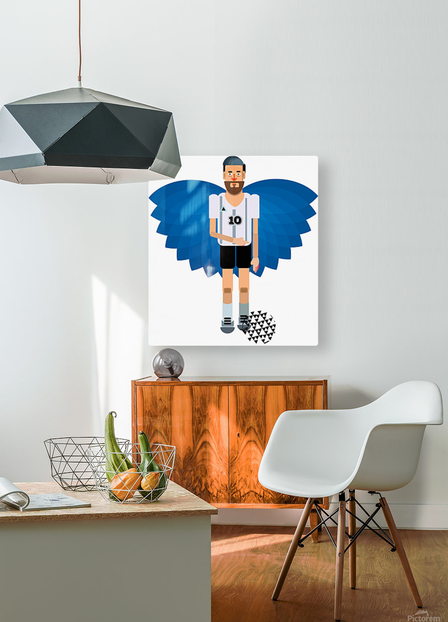 Lionel Messi illustration   HD Metal print with Floating Frame on Back