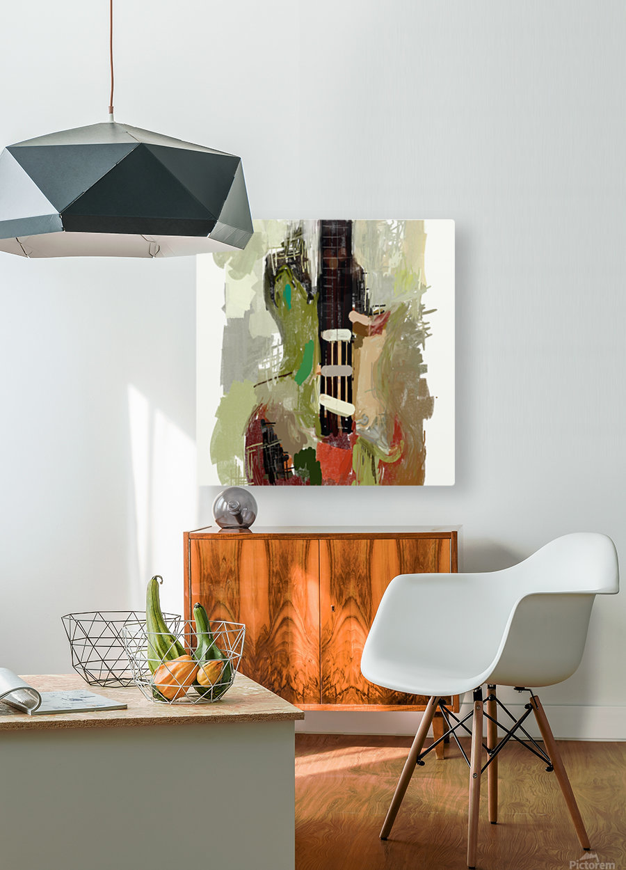 abstract guitar painting   HD Metal print with Floating Frame on Back