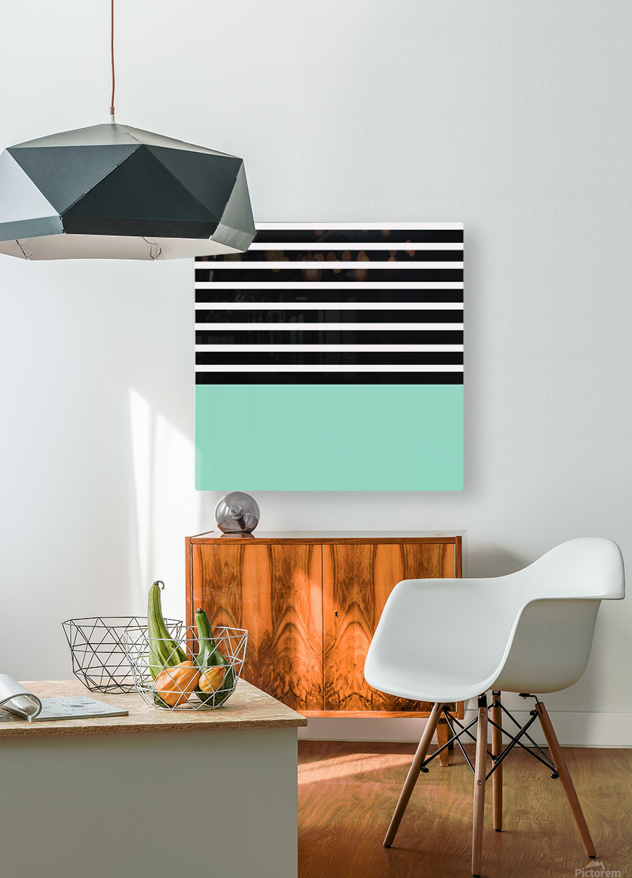 Black & White Stripes with Aquamarine Patch  HD Metal print with Floating Frame on Back
